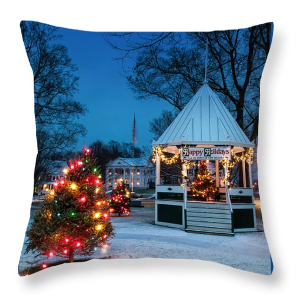 Village Green Holiday Greetings- New Milford Ct - Throw Pillow by Thomas Schoeller