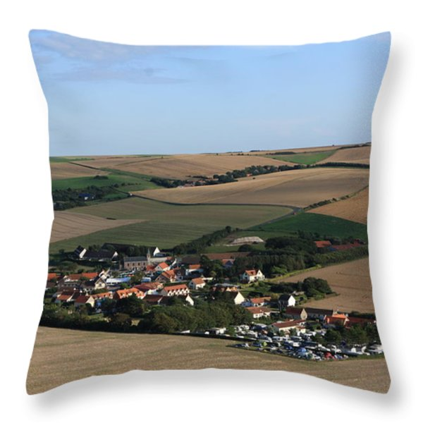 Village In A French Landscape  Throw Pillow by Aidan Moran