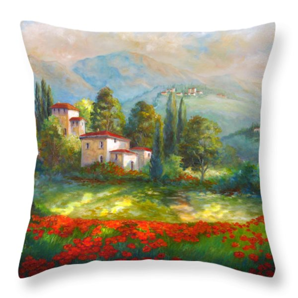 Village with poppy fields  Throw Pillow by Gina Femrite