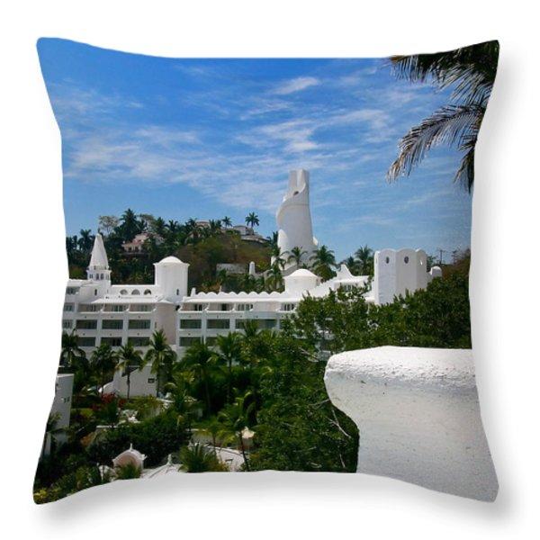 Villas On A Hillside In Manzanillo Mexico Throw Pillow by Amy Cicconi