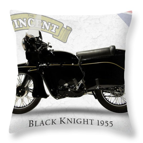 Vincent Black Knight 1955 Throw Pillow by Mark Rogan