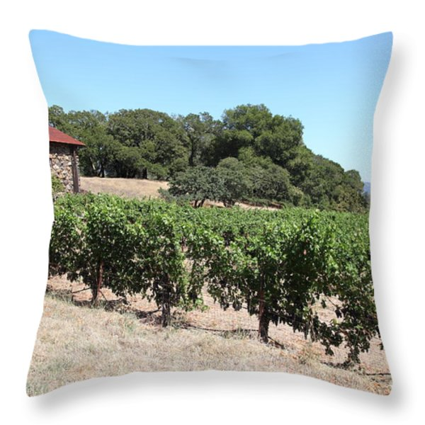 Vineyard and Stallion Barn At Historic Jack London Ranch In Glen Ellen Sonoma California 5D24579 Throw Pillow by Wingsdomain Art and Photography