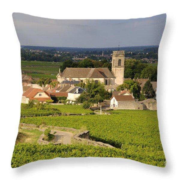 Vineyard and village of Pommard. Cote d'Or. Route des grands crus. Burgundy. France. Europe Throw Pillow by BERNARD JAUBERT