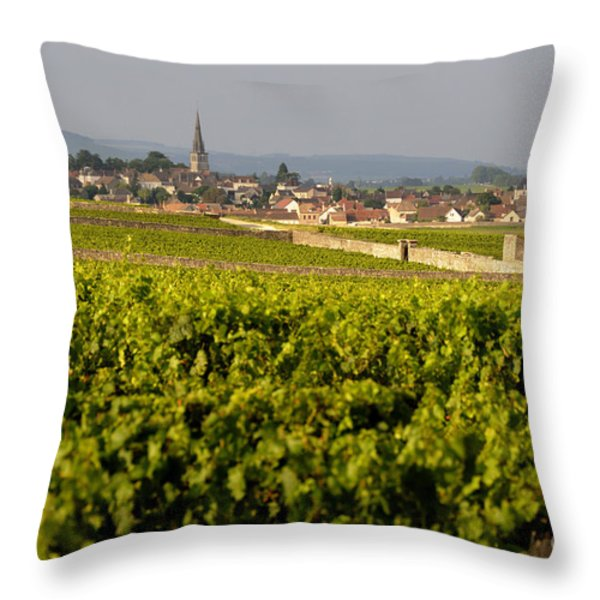 Vineyard in front of the village of Meursault. Burgundy Wine Road. Cote d'Or.Burgundy. France. Europ Throw Pillow by BERNARD JAUBERT