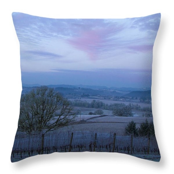 Vineyard morning light Throw Pillow by Jean Noren