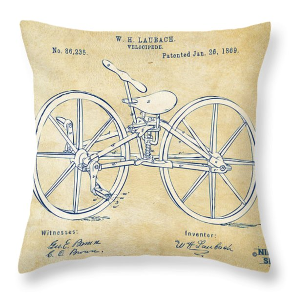 Vintage 1869 Velocipede Bicycle Patent Artwork Throw Pillow by Nikki Marie Smith