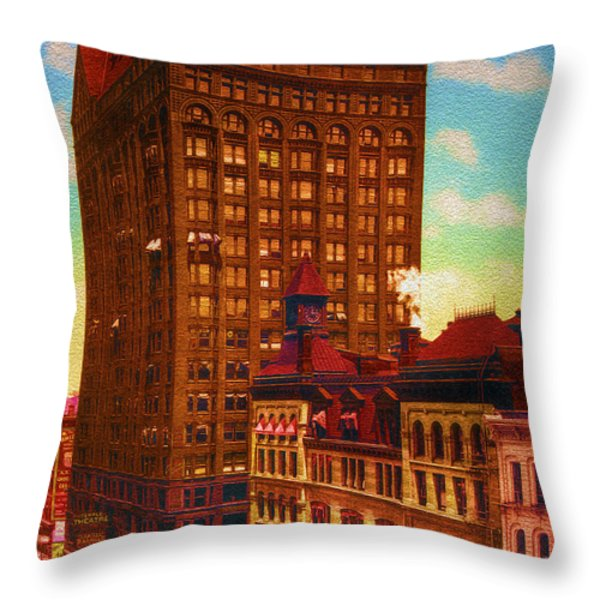 Vintage Chicago - Masonic Temple - 1901 Throw Pillow by Ben Thompson