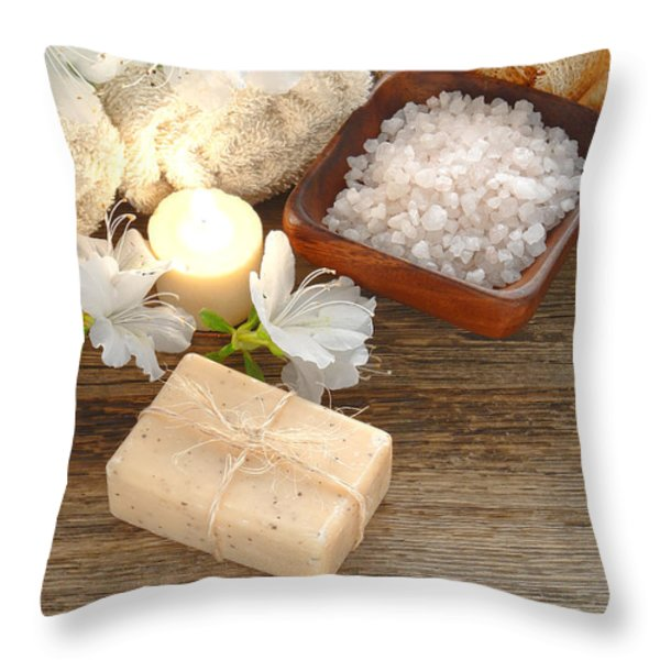 Vintage Aromatherapy Throw Pillow by Olivier Le Queinec