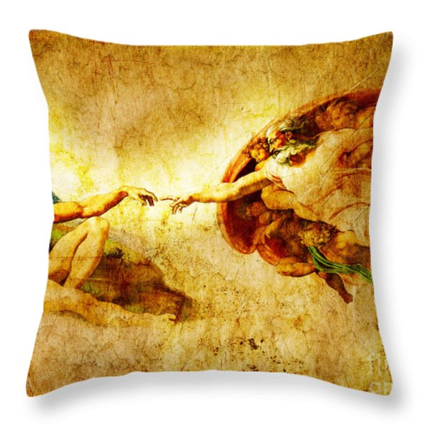 Vintage Art - The Creation Of Adam Throw Pillow by Stefano Senise