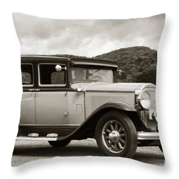 Vintage Automobile On Dirt Road Throw Pillow by Olivier Le Queinec