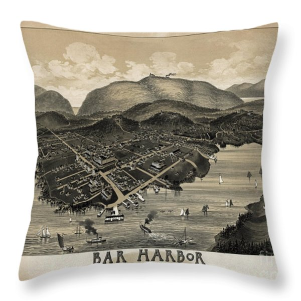 Vintage Bar Harbor Map Throw Pillow by Vintage Map