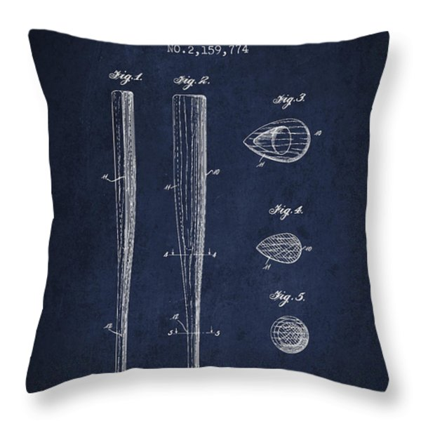 Vintage Baseball Bat Patent From 1939 Throw Pillow by Aged Pixel
