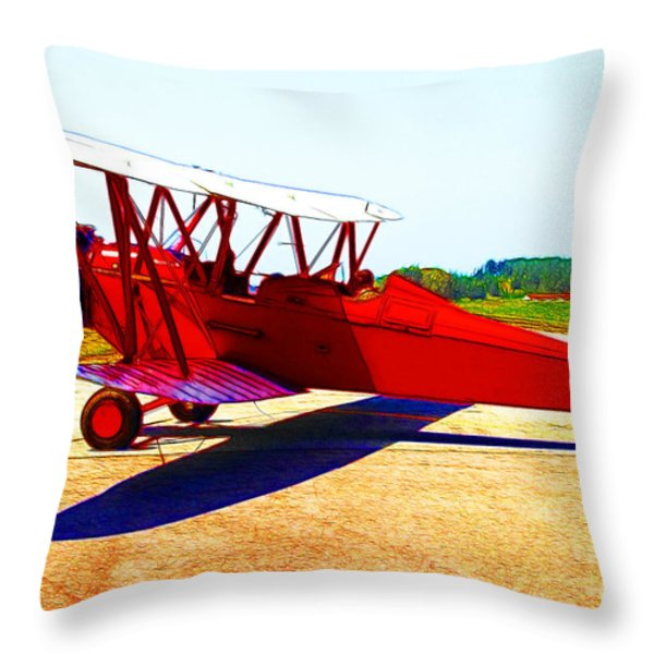 Vintage Biplane - 7d15525 - Color Sketch Style Throw Pillow by Wingsdomain Art and Photography