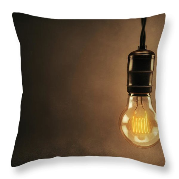 Vintage Bright Idea Throw Pillow by Scott Norris