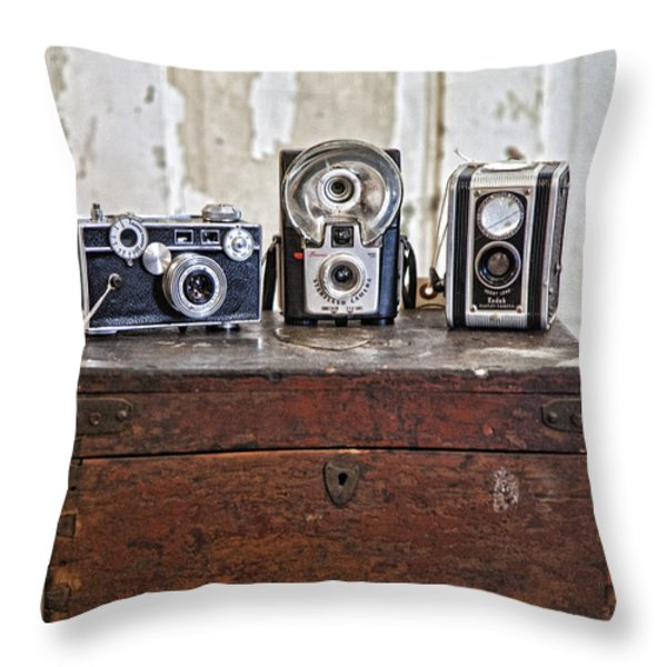 Vintage Cameras At Warehouse 54 Throw Pillow by Toni Hopper