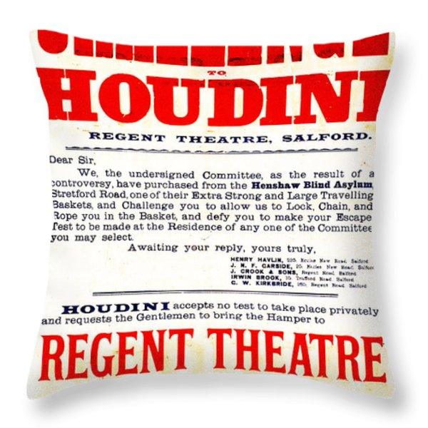 Vintage Challenge Houdini Poster Throw Pillow by Wingsdomain Art and Photography