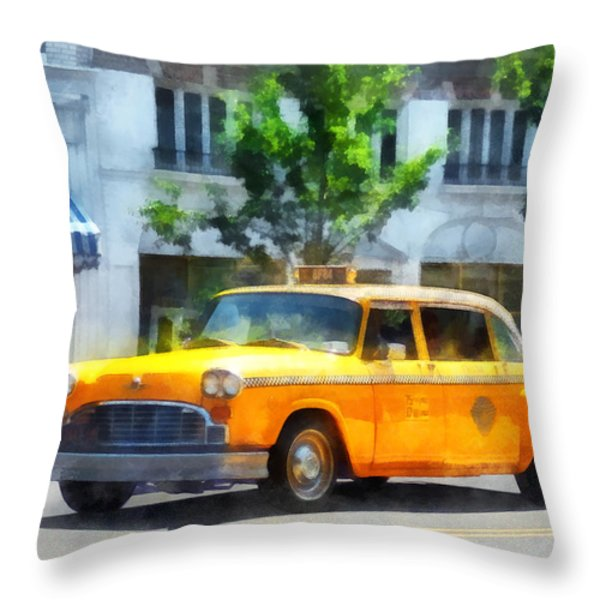 Vintage Checkered Cab Throw Pillow by Susan Savad
