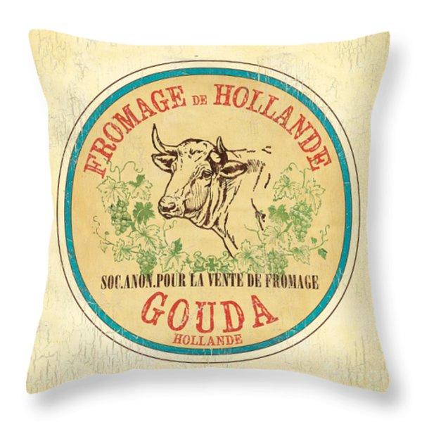 Vintage Cheese Label 1 Throw Pillow by Debbie DeWitt