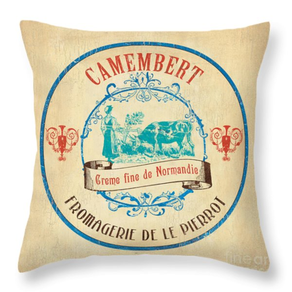 Vintage Cheese Label 3 Throw Pillow by Debbie DeWitt