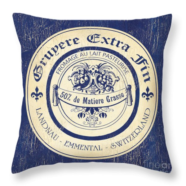 Vintage Cheese Label 5 Throw Pillow by Debbie DeWitt