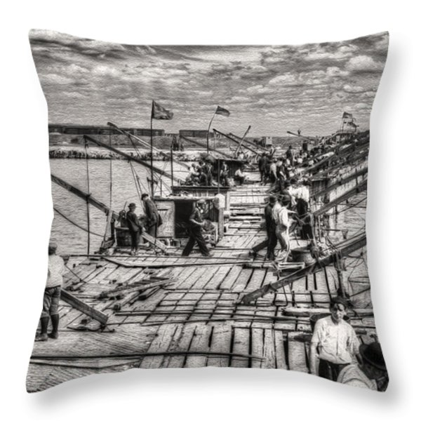 Vintage Chicago - The Fishing Pier 1912 Throw Pillow by Ben Thompson