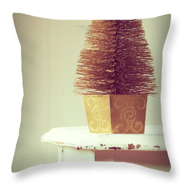 Vintage Christmas Treee Throw Pillow by Amanda And Christopher Elwell