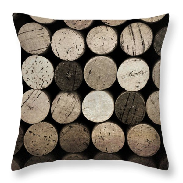 Vintage Corks Throw Pillow by Jane Rix