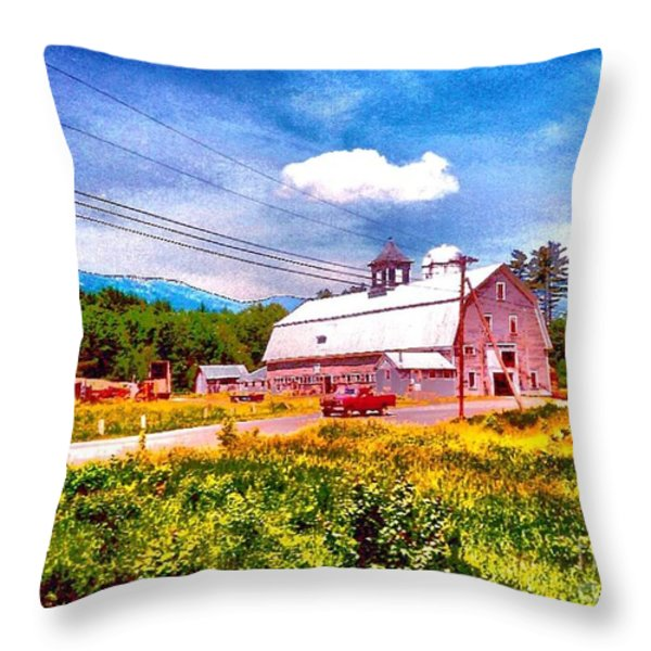 Vintage Country Landscape Throw Pillow by Annie Zeno