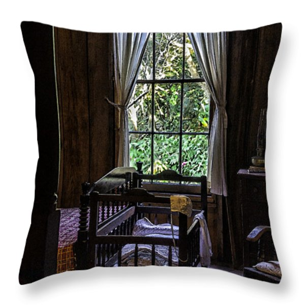 Vintage Crib And Bedroom Throw Pillow by Lynn Palmer