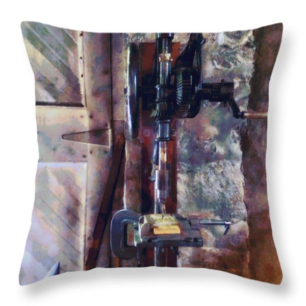 Vintage Drill Press Throw Pillow by Susan Savad