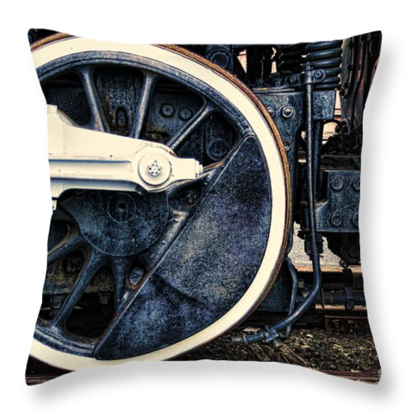Vintage Drive Wheel Throw Pillow by Olivier Le Queinec