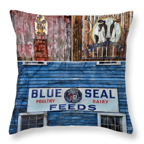 Vintage Farm Signs Throw Pillow by Sabine Jacobs