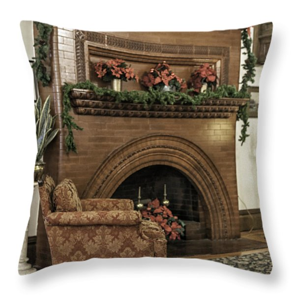 Vintage Fireplace Decorated For Christmas Throw Pillow by Lynn Palmer