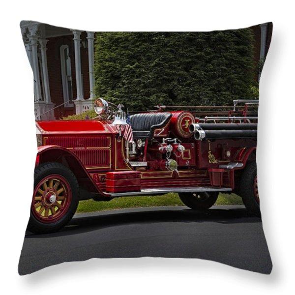 Vintage Firetruck Throw Pillow by Susan Candelario