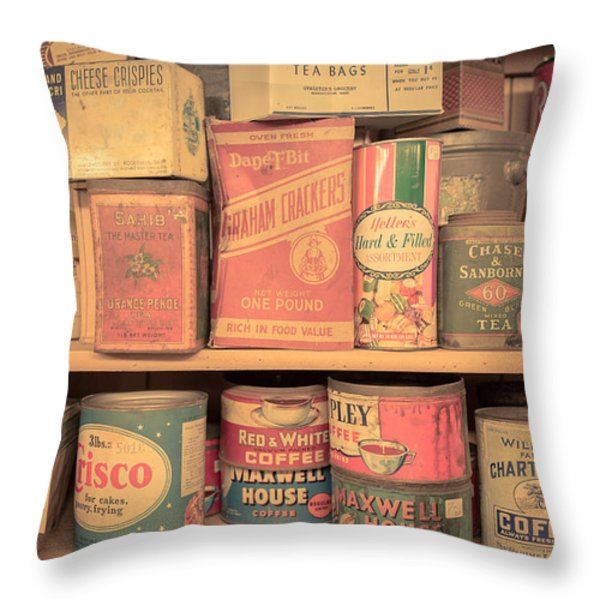 Vintage Food Pantry Throw Pillow by Edward Fielding