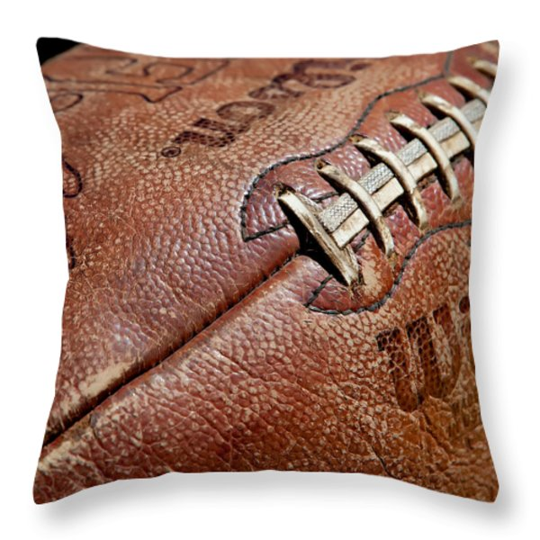 Vintage Football Throw Pillow by Art Block Collections