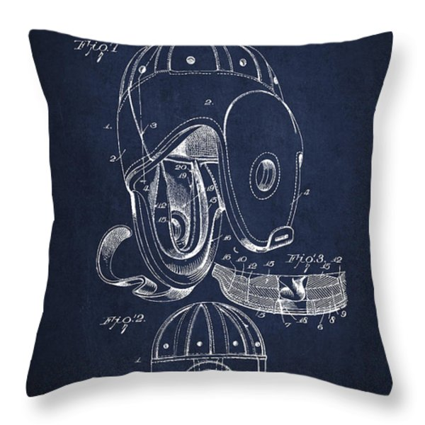Vintage Football Helment Patent Drawing From 1927 Throw Pillow by Aged Pixel