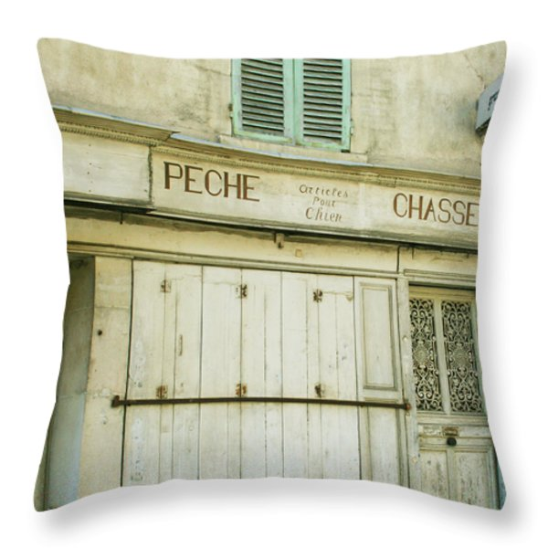 Vintage French Shops Series No.1 Throw Pillow by Nomad Art And  Design