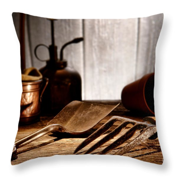 Vintage Gardening Tools Throw Pillow by Olivier Le Queinec