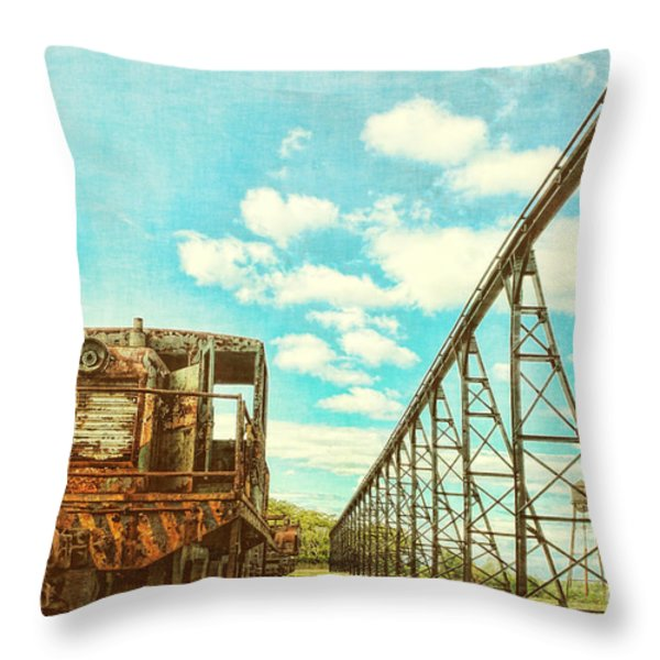 Vintage Industrial Postcard Throw Pillow by Olivier Le Queinec