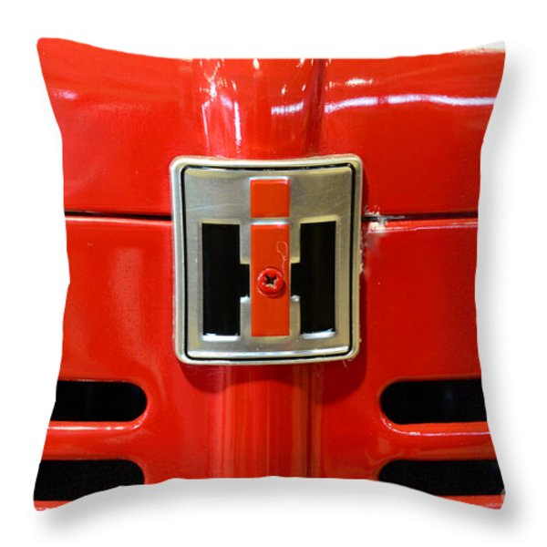 Vintage International Harvester Tractor Badge Throw Pillow by Paul Ward