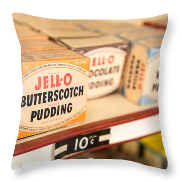 Vintage Jell-O Butterscotch Pudding Throw Pillow by Edward Fielding