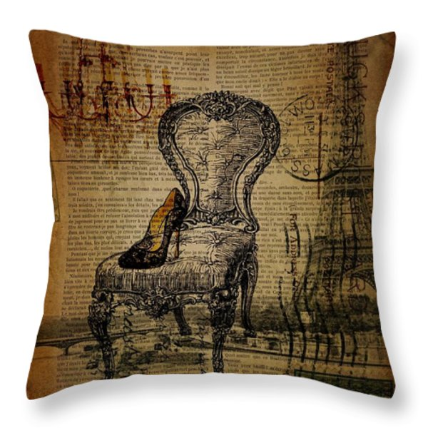 Vintage Lace Stiletto Rococo Chair Chandelier Paris Eiffel Tower Throw Pillow by Cranberry Sky