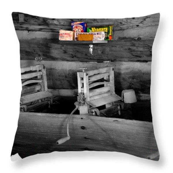 Vintage Laundry Throw Pillow by Deniece Platt