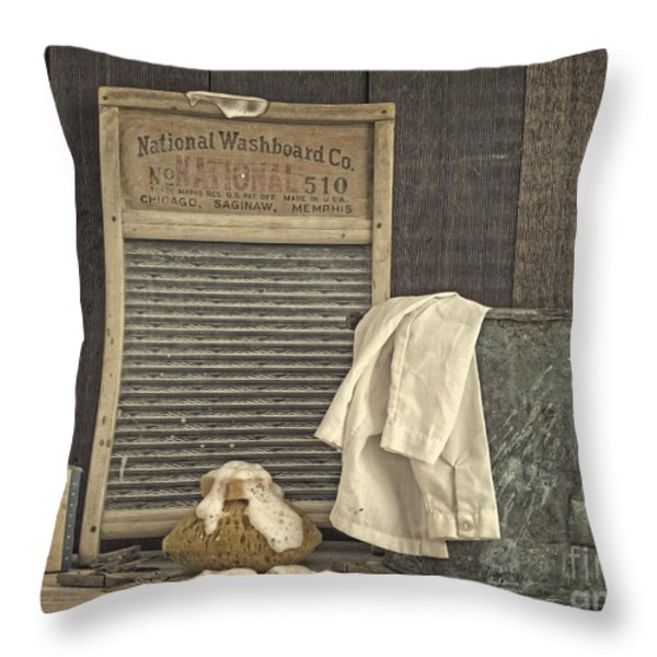 Vintage Laundry Room II By Edward M Fielding Throw Pillow by Edward Fielding