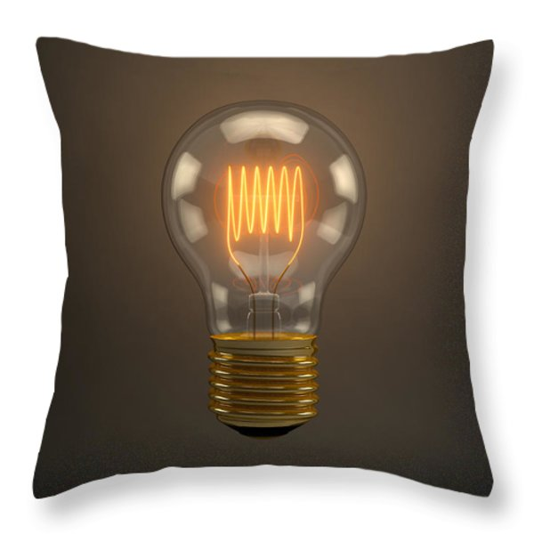 Vintage Light Bulb Throw Pillow by Scott Norris