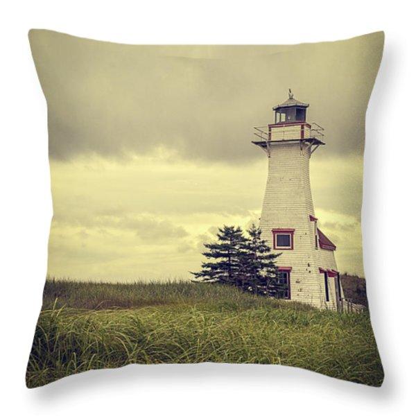 Vintage Lighthouse Pei Throw Pillow by Edward Fielding