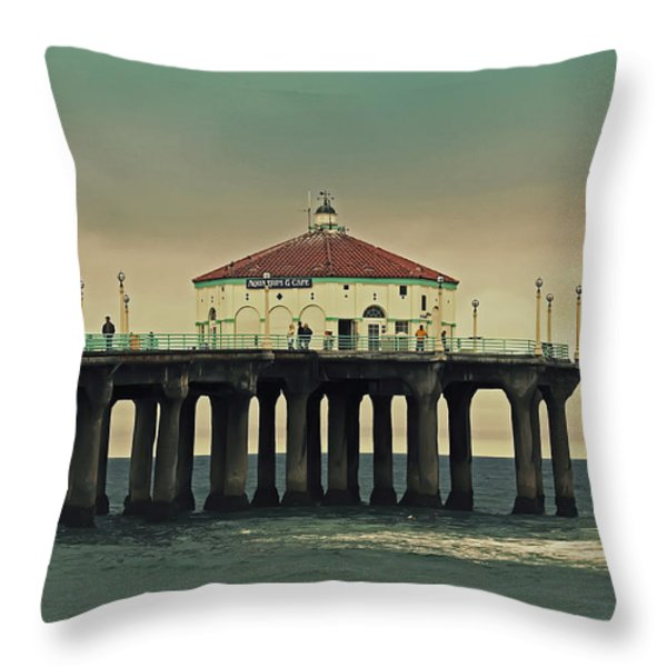 Vintage Manhattan Beach Pier Throw Pillow by Kim Hojnacki