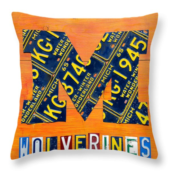Vintage Michigan License Plate Art Throw Pillow by Design Turnpike