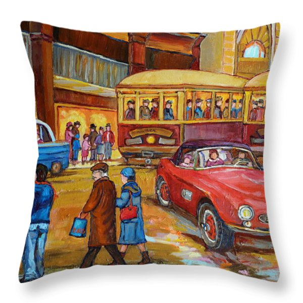 Vintage Montreal-st.catherine And Union-couples And Streetcars Throw Pillow by Carole Spandau